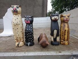 Wooden Cat Ornaments, £5 Each Or All For £15