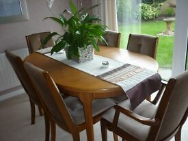 Oval Extendable Dining Table and 6 Chairs