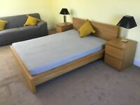 King size bed, mattress and side drawers