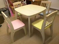 John crane childrens table and 4 chairs