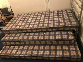 2 divan beds-2'6 & 3'. Choice of 3 headboards. 3' has guest bed below all steam cleaned. Need gone!