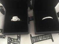Engagement/wedding ring. Diamond cluster + band. Hsamuel brand new set.