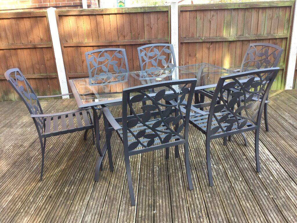 lucca garden furniture set rectangle table with 6 chairs matching bench and