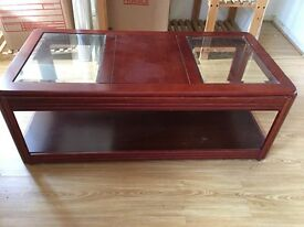 Mahogany & Glass Coffee Table