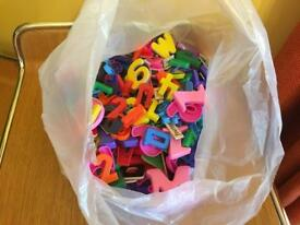 Wooden & plastic magnetic letters & numbers