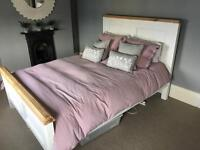 Country Cottage Style Natural Oak and Painted King Size Bed