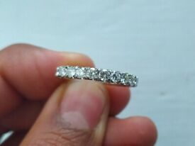 14ct white gold half band eternity ring