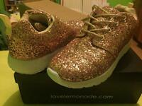 Rose Gold glitter bomb trainers