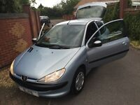 2002 PEUGEOT 206 1.1 LOOK EDITION. ABSOLUTELY STUNNING LOW MILEAGE EXAMPLE! CHEAP TAX AND INSURANCE!
