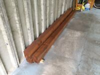 5 Unused Timber Fence Posts Treated & Stained