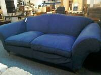 3 seater blue sofa on casters #34119 £85