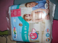2 packs of nappies LUPILU 16 + kg , one a new , one open