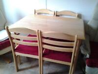 table 4 chairs solid wood bought this item in rejects chairs are cushiond in light material comfort