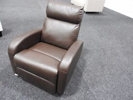 BROWN FAUX LEATHER ARMCHAIR RECLINER