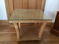 John Lewis Rattan coffee table with removable glass top