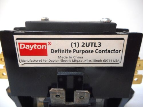 DAYTON, DEFINITE PURPOSE CONTACTOR, PART NO. 2UTL3, 50/60 Hz, COIL VOLTS 120VAC