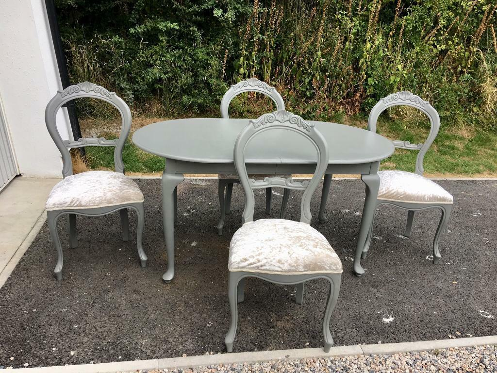 Balloon back antique chairs and queen anne style table launceston