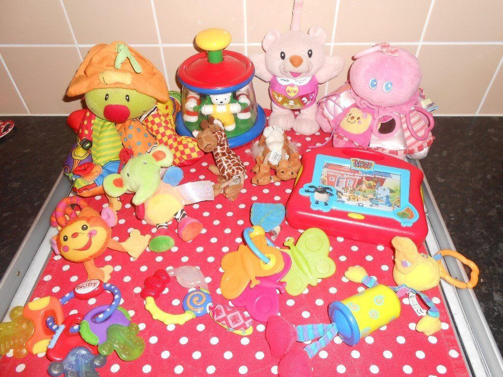 BABY TOY BUNDLE10 FOR ALLin Plymouth, DevonGumtree - Baby Toy Bundle Hanging sensory octopus Teddy spin top Pink Vtech Little Singing Bear Fisher Price pink hanging sensory octopus Little Monkey soft toy Little elephant soft toy Tiger & Giraffe finger puppets Timmy Time Musical TV Nuby teething keys...