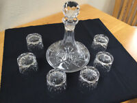 SHIPS CRYSTAL DECANTER AND SIX GLASSES