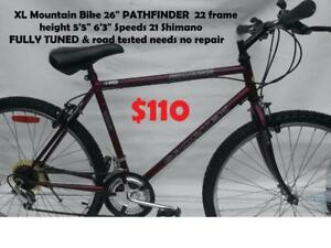"""XL Mountain Bike 26"""" PATHFINDER  22 frame height 5'5"""" 6'3"""" Speeds 21 Shimano  FULLY TUNED & road tested needs no repair"""