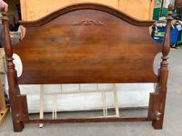 Solid dark wood headboard king size/ double bed