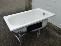 SMALL GERMAN (BETTE) SIT BATH COMPLETE WITH TAP, SEAT AND MOUNT CRADLE IN EXCELLENT CONDITION
