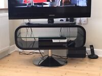 TECHLINK Modern Contemporary Opod Black and Glass Tv Media Stand RRP £199.99