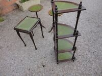 4 x PIECES OF ANTIQUE EFFECT FURNITURE WOT NOT TABLES
