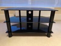 TV Stand Black Glass Excellent Condition