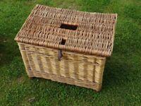 vintage wicker fishing basket / wicker fishing basket seat . with carry strap