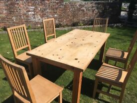Dining table and 6 chairs. Perfect for 'doing up'
