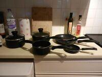 SET OF TEFAL SAUCEPANS/FRYING PANS