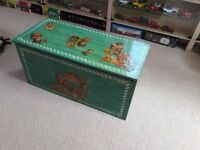 Beautiful Childs Painted Wooden Toy Box
