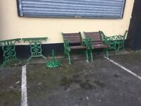 Original Heavy Cast Iron Garden Furniture Set / Table Bench Chairs Can Deliver