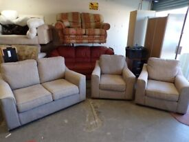 3 Piece Suite In Beige/Grey Oatmeal Fabric. 2 Seater Sofa & 2 Chairs