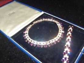 Antique costume jewellery necklace and bracelet set very old stones purple colour