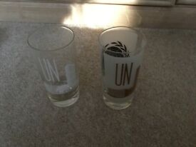 2 United Nations Glass Tumblers from 1960s