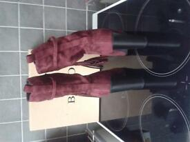 Burgundy suade boots