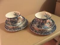 BLUE & WHITE VINTAGE CHINA TEA CUP, SAUCER, BOWL & PLATE