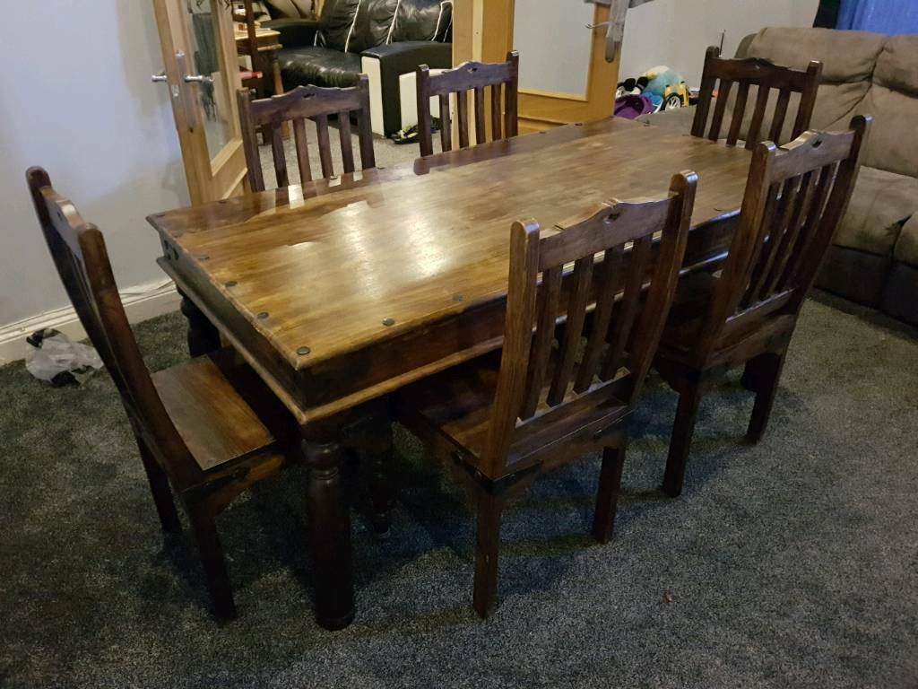 Beautiful Indian Sheesham Solid OAK Dining Table And 6 Chairs