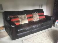 3 Seater Dark Brown Leather Sofa - All 100% Leather