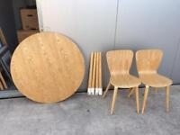 Oak dining table and two chairs