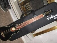 washburn rover r010 travel guitar as new in black . mint .