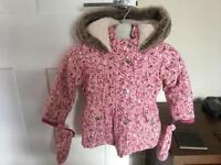 Girls Mantaray winter coat 12-18 months (Pink Flower Design)