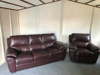 Luxury chestnut brown ~ 3 & 1 ~ full leather sofas suite / armchair recliner