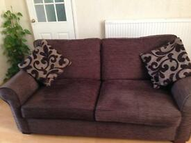 Settee And Chair Chocolate Brown VGC