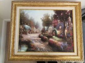 cobblestone lane by thomas kinkade with cetrificate of authenticity