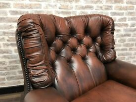Vintage Tan Chesterfield Monks Chair