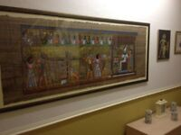 Egyptian tapestry wall mounted picture in frame