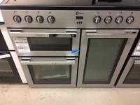 Silver flaval 90cm bran new ceramic hob electric cooker grill & double fan assisted ovens with guara